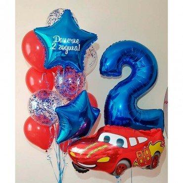 Набор шаров на день рождения с машинками для девочки