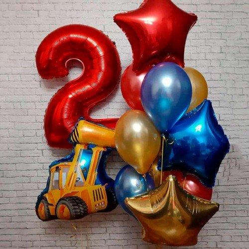 Набор шаров на день рождения с самосвалом