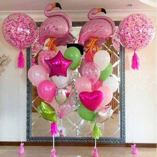 Воздушные шарики на праздник с фламинго и конфетти