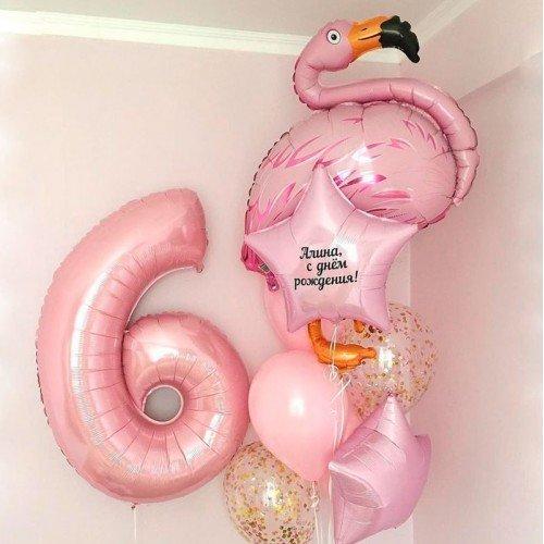 Комплект на день рождения из шариков с фламинго