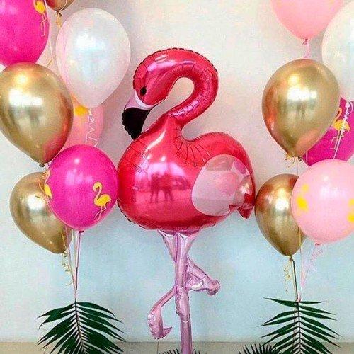 Набор шариков на праздник с розовым фламинго