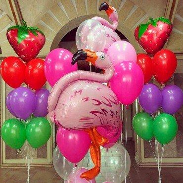 Набор шаров с фламинго летний микс
