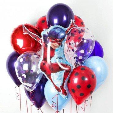 Комплект шаров Леди Баг и шариков фольгированных кругов