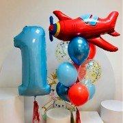 Комплект шаров на 1-й день рождения с Самолетиком