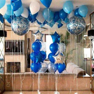 Сет из воздушных шаров в синих и голубых оттенках