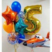 """Украшение из шаров на 5 лет """"Оранжевый самолет"""""""