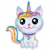 Воздушный шар голубой, Сказочный Котёнок- Единорог