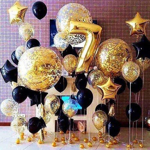 Набор воздушных шариков черного и золотого цвета на праздник