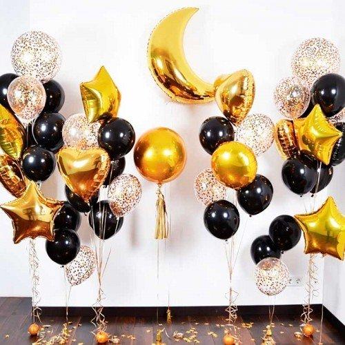 Набор воздушных фольгированных шаров золотого цвета