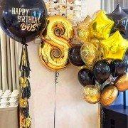 Сет золотых и черных шаров Happy Birthday