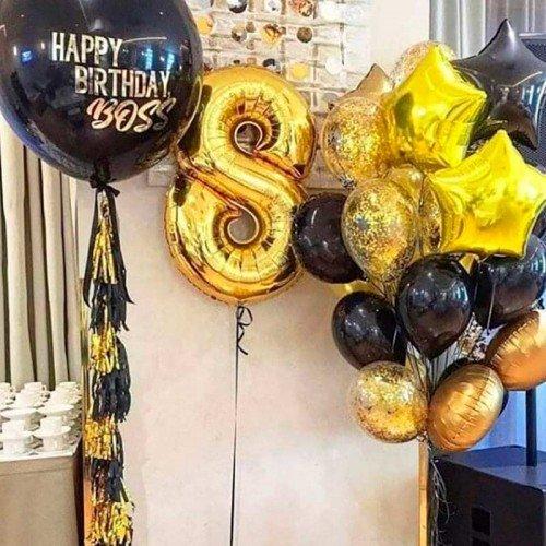 Набор воздушных шаров на день рождения золотой