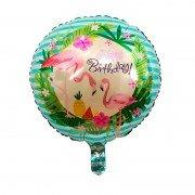 "Шар круглый Фламинго ""Happy Birthday"""