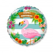 "Шар круглый ""Happy Birthday Фламинго"""