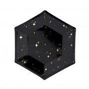 """Черная фигурная тарелка из коллекции """"Black&Gold"""" Искры 20 см 6 шт"""
