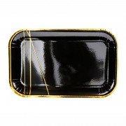 """Черная тарелка из коллекции """"Black&Gold"""" Линии 13,5х22 см 6 шт"""