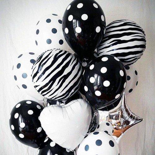 Набор воздушных шаров в черно-белый горошек