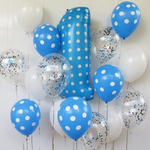 Шарики голубые в горошек для украшения фотозоны на 1 годик