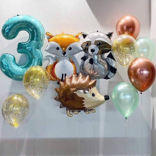 Набор шаров для оформление фотозоны с шариками фигурами лесных животных