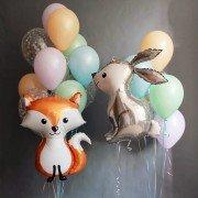 """Комплект шаров лесные зверята """"Зайчик и Лисичка"""""""
