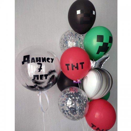 Набор воздушных шариков майнкрафт с шаром баблс и надписью