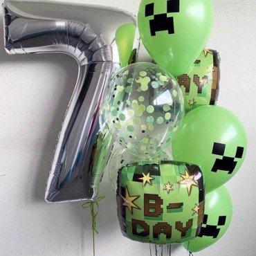 Комплект шаров на 7 лет мальчика в стиле игры майнкрафт