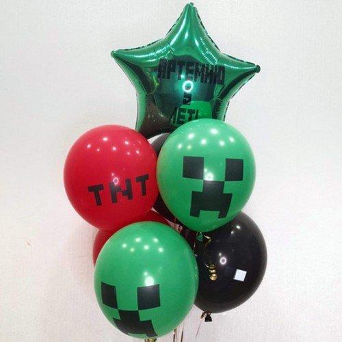 Комплект шаров со звездой Майнкрафт на грузике