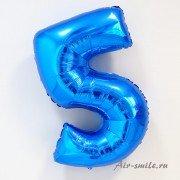 Фольгированная цифра 5 синего цвета