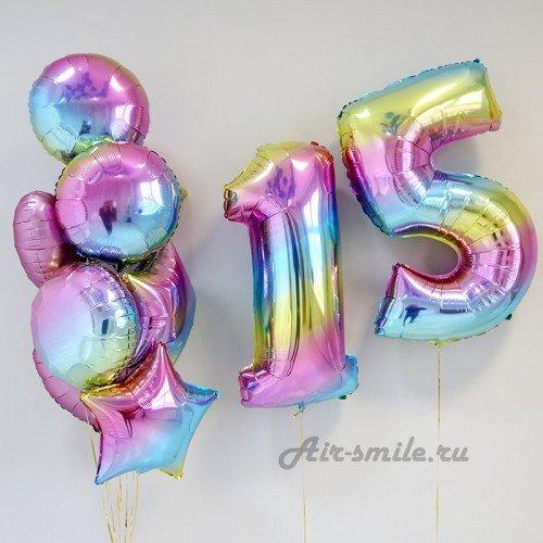 Букет из воздушных шариков градиент на 15 лет
