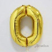Шар цифра 0 золотого цвета