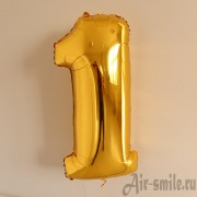 Фольгированная цифра 1 золотого цвета