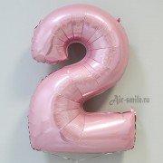Фольгированная цифра 2 светло розового цвета