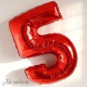 Шар цифра 5 красного цвета