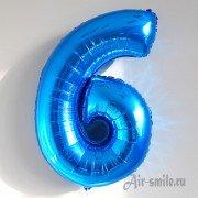 Фольгированная цифра 6 синего цвета