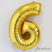 Фольгированная цифра 6 золотого цвета