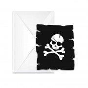 Приглашение Череп Пирата черное 6 шт