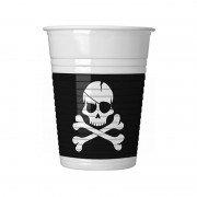 Стакан пластиковый Череп Пирата черный 200 мл 8 шт
