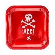 """Тарелка """"Пиратская Party"""" квадратная 20 см 6 шт"""