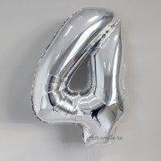 Фольгированная цифра 4 серебряного цвета с гелием