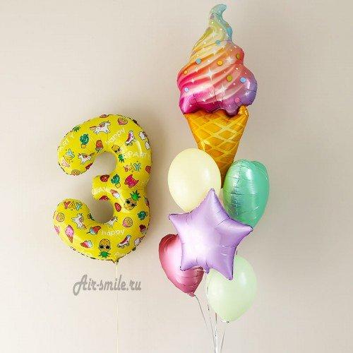 Шарики для девочки с цифрой 3 и фонтан с мороженным