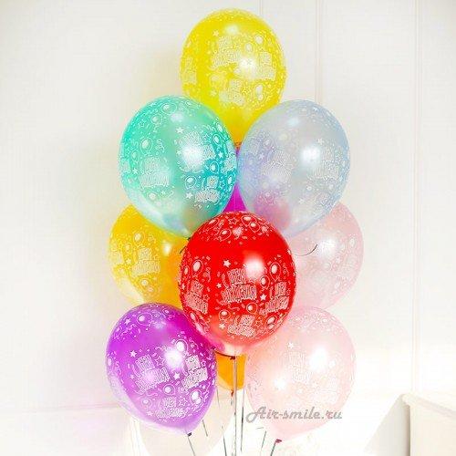 Гелиевые шарики с днём рождения металлик