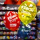 Воздушные шары с хештегами цветные кристалл