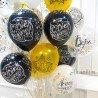 Шары на день рождения чёрные и золотые с надписями 3
