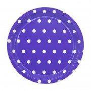 Тарелка Горошек фиолетовая 23 см 6 шт