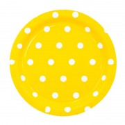 Тарелка Горошек желтая 23 см 6 шт