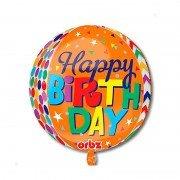 """Шар 3D сфера горошек и зигзаги """"Happy Birthday"""""""