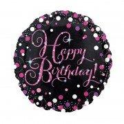 "Шар голограмма розово-белый горошек ""Happy Birthday"""