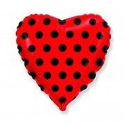 """Шар в форме сердца """"Горошек черный на красном"""""""