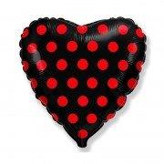 """Шар в форме сердца """"Горошек красный на черном"""""""