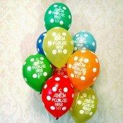 Гелиевые шарики С Днём Рождения в горошек