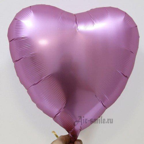 Фольгированное сердце сатин цвета розовый